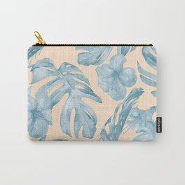 Tropical Leaves Sky Blue on Mango Coral Carry-All Pouch