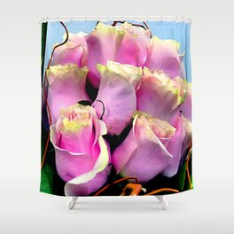 Bright Pink Rose Buds Exotic Floral Bouquet Shower Curtain