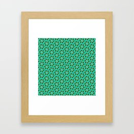 Turquoise Triangles Forest Green Hexagons on Butter Cream Yellow Southwestern Design Pattern Framed Art Print