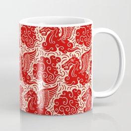 Pegasus Pattern Beige and Red Coffee Mug