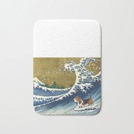 Basset Hound Surfing Bath Mat