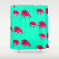 meat Shower Curtains featuring Meat meet Meat by didu didu