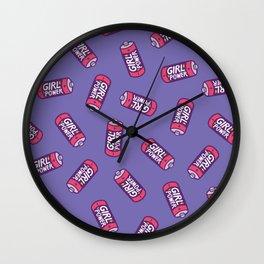 Girl Power Pattern in Purple Wall Clock