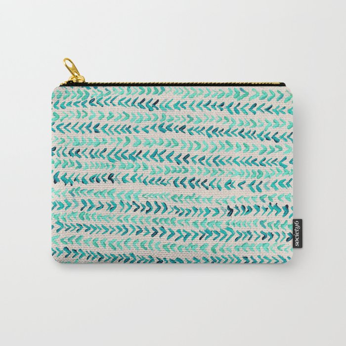 Hand Painted Herringbone Pattern in Mint Carry-All Pouch