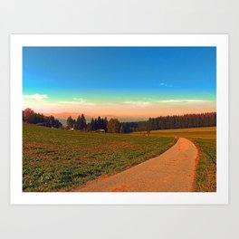 Hiking into the sunset | landscape photography Art Print