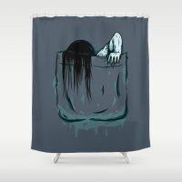 pocket Shower Curtains featuring Pocket Samara by Mike Handy Art