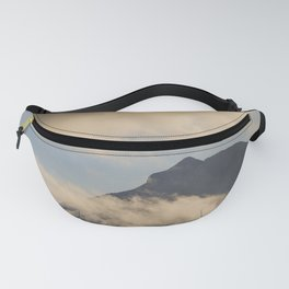 Amazing nature landscape, Pico mountain with some clouds, Azores islands, travel destination. Fanny Pack
