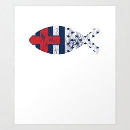 Vintage Distressed USA Flag Christian Fishing Art Print