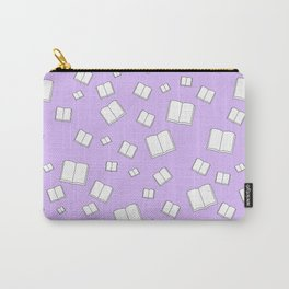 Lilac Flying Books Pattern Carry-All Pouch