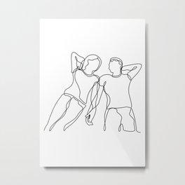 Lovers - Minimal Line Drawing2 Metal Print