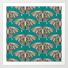 swallowtail butterfly teal black Art Print