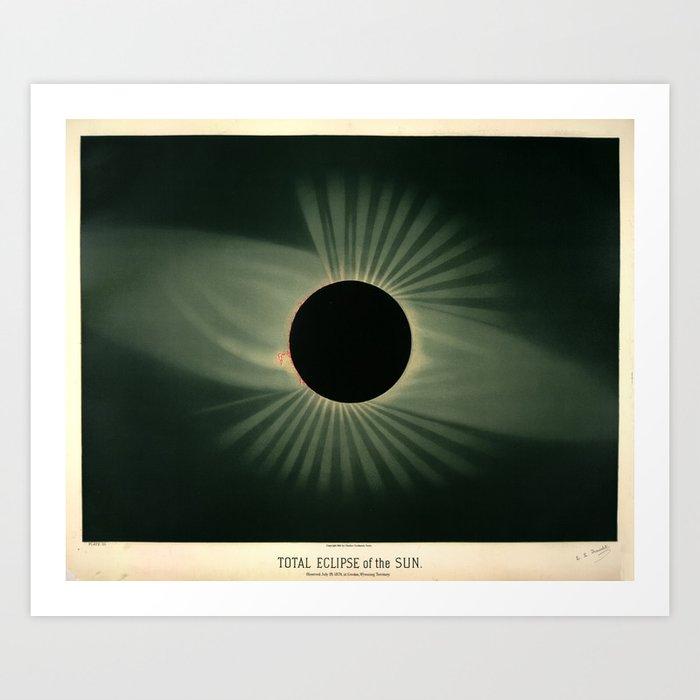 Total solar eclipse by Étienne Léopold Trouvelot (1878) Kunstdrucke