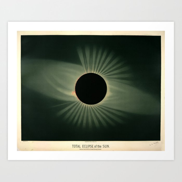 Total solar eclipse by Étienne Léopold Trouvelot (1878) Art Print