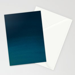 Hand painted navy blue green watercolor ombre brushstrokes Stationery Cards