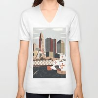 ohio V-neck T-shirts featuring Columbus, Ohio by Sam Brewster