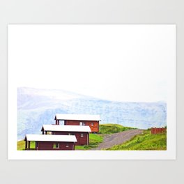 Iceland Bungalows Art Print