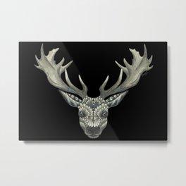 'Masked Stag' - Black Bakcground Metal Print