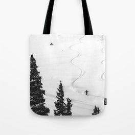 Backcountry Skier // Fresh Powder Snow Mountain Ski Landscape Black and White Photography Vibes Tote Bag