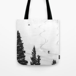 Backcountry Skier // Fresh Powder Snow Mountain Ski Landscape Black and White Photography Vibes Tote Bag