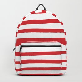 Red hand drawn stripes Backpack