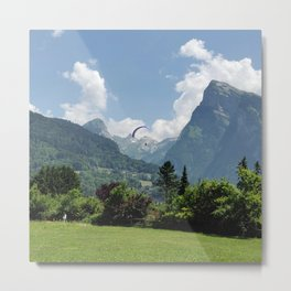 Paragliding in the Alps Metal Print