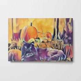 Black Cats & Pumpkins Metal Print