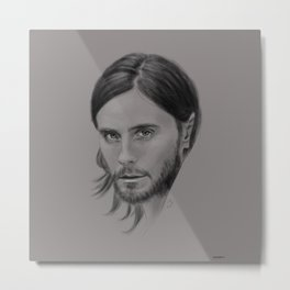 Jared Leto Digital Portrait grey LLFD Metal Print