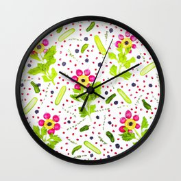 Fruits and vegetables pattern (15) Wall Clock