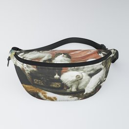 My Wife's Lovers by Carl Kahler, 1883 - Famous Cat Painting Fanny Pack