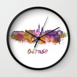 Odense skyline in watercolor Wall Clock