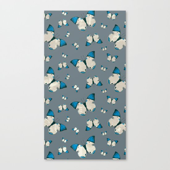 Spring Butterfly (Blue Pattern) Canvas Print