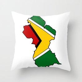 Guyana Map with Guyanese Flag Throw Pillow