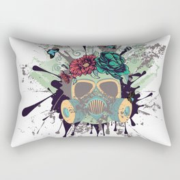 Green Gas Mask with Roses Rectangular Pillow