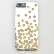 Gold Glitter Dots in scattered pattern iPhone 6 Slim Case