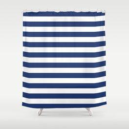 Horizontal Navy Stripes Pattern Shower Curtain