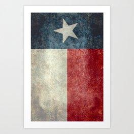 Texas state flag, Vintage banner version Art Print