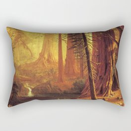 Giant Redwood Trees Of California 1874 By Albert Bierstadt | Reproduction Painting Rectangular Pillow