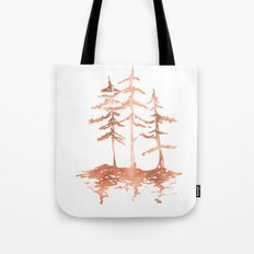 Three Sisters Trees Rose Gold on White Tote Bag