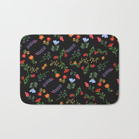 Dark Flower Pattern Bath Mat