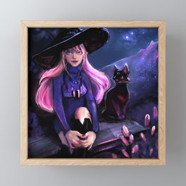 starry night , witch and the cat Framed Mini Art Print