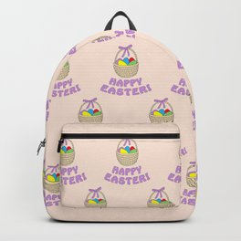 happy easter with basket Backpack