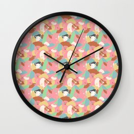 Hide in Colorful Fans -Japanese Inspired Pattern Wall Clock