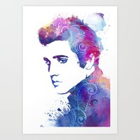 elvis presley Art Prints featuring Elvis Presley by WatercolorGirlArt
