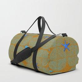 Blue starfish on a green beach Duffle Bag