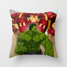 Hulk vs. Hulkbuster Throw Pillow