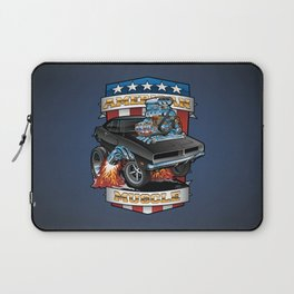 American Muscle Patriotic Classic Muscle Car Cartoon Illustration Laptop Sleeve