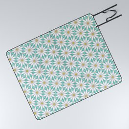 Daisy Hex - Turquoise Picnic Blanket