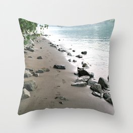 Footsteps by the River Throw Pillow
