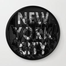 New York City - Black Wall Clock