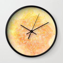 Watercolor Mandala // Sunny Floral Mandala Wall Clock